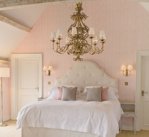 pink bedroom gold chandelier jim lawrence wall lights