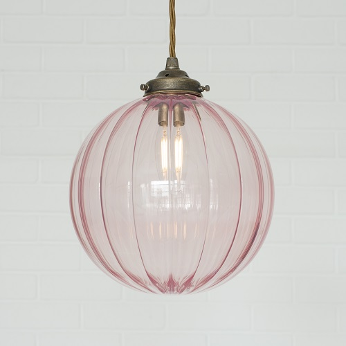 jim lawrence pendants dusky pink antiqued brass coloured glass